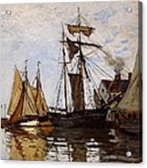 Boats In The Port Of Honfleur Acrylic Print by L Brown