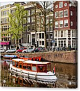 Boats On Canal In Amsterdam Acrylic Print by Artur Bogacki