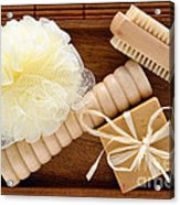 Body Care Accessories In Wood Tray Acrylic Print by Olivier Le Queinec