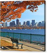 Boston Charles River In Autumn Acrylic Print by John Burk