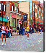 Boston Marathon Mile Twenty Two Acrylic Print by Barbara McDevitt