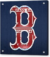 Boston Red Sox Logo Letter B Baseball Team Vintage License Plate Art Acrylic Print by Design Turnpike