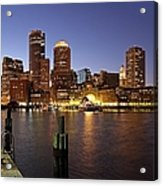 Boston Skyline And Fan Pier Acrylic Print by Juergen Roth