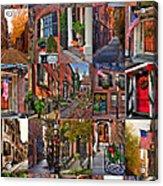 Boston Tourism Collage Acrylic Print by Joann Vitali