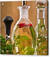 Bottles Of Olive Oil Acrylic Print by Amanda And Christopher Elwell
