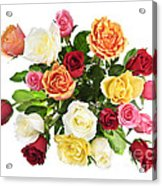 Bouquet Of Roses From Above Acrylic Print by Elena Elisseeva