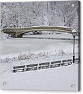 Bow Bridge Central Park Winter Wonderland Acrylic Print by Susan Candelario