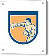 Boxer Boxing Punching Shield Cartoon Acrylic Print by Aloysius Patrimonio