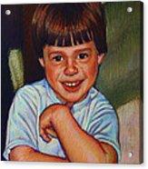 Boy In Blue Shirt Acrylic Print by Kenneth Cobb