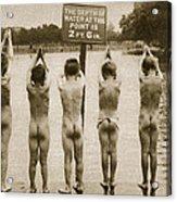 Boys Bathing In The Park Clapham Acrylic Print by English Photographer