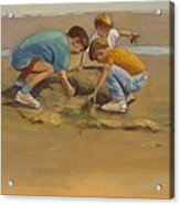 Boys In The Sand Acrylic Print by Sue  Darius