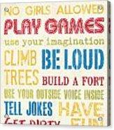 Boys Rules Acrylic Print by Debbie DeWitt