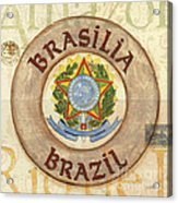 Brazil Coat Of Arms Acrylic Print by Debbie DeWitt