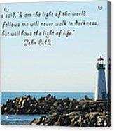 Breakwater Lighthouse Santa Cruz With Verse  Acrylic Print by Barbara Snyder