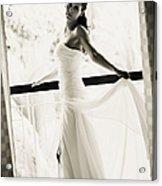 Bride At The Balcony. Black And White Acrylic Print by Jenny Rainbow
