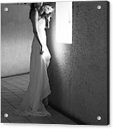 Bride At The Window I. Black And White Acrylic Print by Jenny Rainbow