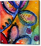 Bright Abstract Flowers Acrylic Print by Linda Woods