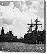 British Brazilian And Us Navy Warships Mole Pier Key West Harbor Florida Usa Acrylic Print by Joe Fox