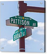 Broad And Pattison Where Philly Sports Happen Acrylic Print by Photographic Arts And Design Studio
