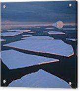 Broken Fast Ice Under Midnight Sun East Acrylic Print by Tui De Roy