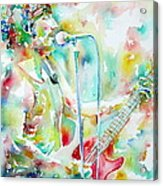 Bruce Springsteen Playing The Guitar Watercolor Portrait.1 Acrylic Print by Fabrizio Cassetta