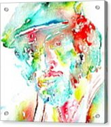 Bruce Springsteen Watercolor Portrait Acrylic Print by Fabrizio Cassetta