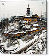 Buddha - Jiming Temple In The Snow - Colour Version  Acrylic Print by Dean Harte