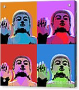 Buddha Pop Art - 4 Panels Acrylic Print by Jean luc Comperat