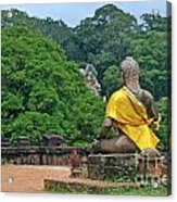 Buddha Statue Wearing A Yellow Sash Acrylic Print by Sami Sarkis