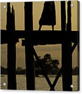 Buddhist Monk Walking Over U Bein's Bridge At Sunset Acrylic Print by Ruben Vicente
