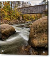 Bulls Bridge Autumn Square Acrylic Print by Bill Wakeley