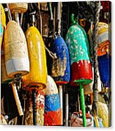 Buoys From Russell's Lobsters Acrylic Print by Lois Bryan