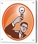 Businessman Holding Lightbulb Woodcut Acrylic Print by Aloysius Patrimonio