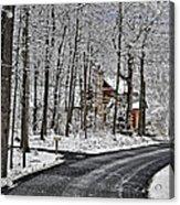 Cabin In The Woods Acrylic Print by Lara Ellis