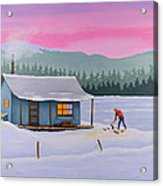 Cabin On A Frozen Lake Acrylic Print by Gary Giacomelli