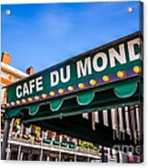 Cafe Du Monde Picture In New Orleans Louisiana Acrylic Print by Paul Velgos
