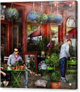 Cafe - Hoboken Nj - A Day Out  Acrylic Print by Mike Savad