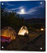 Campfire And Moonlight Acrylic Print by Adam Romanowicz