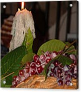Candle And Grapes Acrylic Print by Marcia Socolik