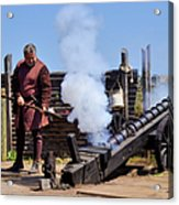 Cannon Firing At Fountain Of Youth Fl Acrylic Print by Christine Till
