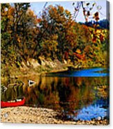 Canoe On The Gasconade River Acrylic Print by Steve Karol