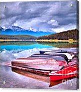 Canoes At Lake Patricia Acrylic Print by Tara Turner