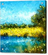 Canola Fields Impressionist Landscape Painting Acrylic Print by Michelle Wrighton
