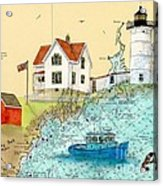 Cape Neddick Lighthouse Me Nautical Chart Map Art Cathy Peek Acrylic Print by Cathy Peek