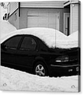 Car Buried In Snow Outside House In Honningsvag Norway Europe Acrylic Print by Joe Fox