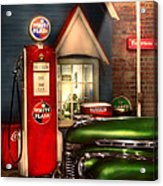 Car - Station - White Flash Gasoline Acrylic Print by Mike Savad