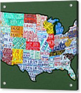 Car Tag Number Plate Art Usa On Green Acrylic Print by Design Turnpike
