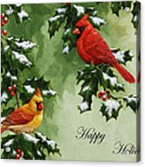 Cardinals Holiday Card - Version With Snow Acrylic Print by Crista Forest