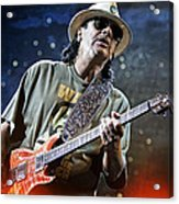 Carlos Santana On Guitar 2 Acrylic Print by The  Vault - Jennifer Rondinelli Reilly
