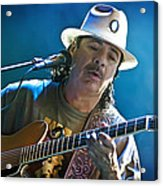 Carlos Santana On Guitar 3 Acrylic Print by The  Vault - Jennifer Rondinelli Reilly